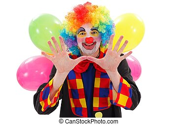 Happy clown with balloons, gesturing with hand