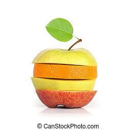 Mixed Fruit. Apple and orange