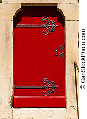 French Door - Close-up Image Of Red Wooden Ancient French...