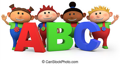 kids with ABC letters - cute multi-ethnic kids with ABC...