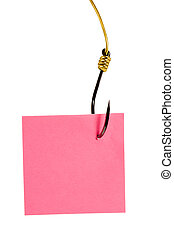 Post it note on fishing hook isolated on white background