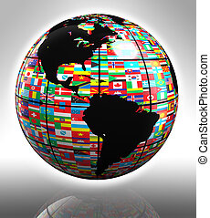 flags globe featuring america - earth globe with flags...