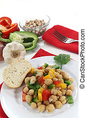 chickpea salad with peppers, scallions and coriander