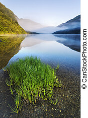 Mountain lake - Upper lake in Glendalough Scenic Park,...