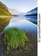 Mountain lake - Upper lake in Glendalough Scenic Park,...