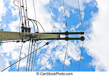 Electric line and blue sky. Nature and City