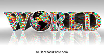 world flags word and earth globe