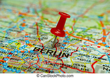 Thumbtack on map - Berlin - Macro image of a thumbtack...