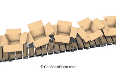 Cardboard boxes moving on conveyor belt, loopable, FullHD