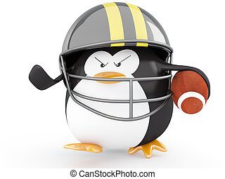 Football Player - Fat american football player penguin - 3D...