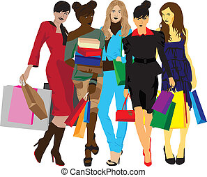 women with shopping - five different women with shopping on...