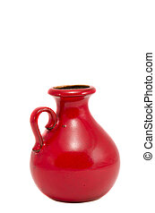 isolated red ceramics vase
