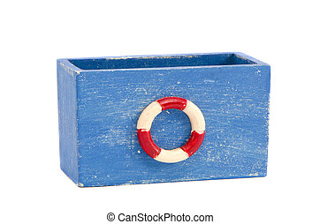 isolated colorful retro wooden toy box - isolated on white...