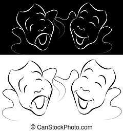Drama Mask Line Art Set - An image of a drama mask line art...
