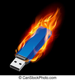 USB Flash Drive - Blue USB Flash Drive in Fire. Illustration...