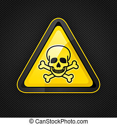 Hazard warning triangle toxic sign on a metal surface, 10eps