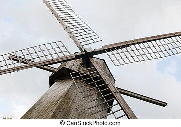 lâminas, antigas, madeira, moinho de vento, fim, cima