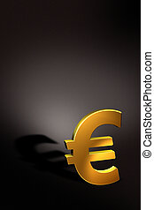 golden euro - rendering of a golden euro icon with black...