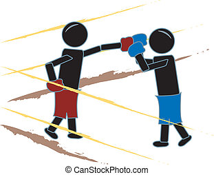 Stick Figures Boxing - simple drawing of stick figures...