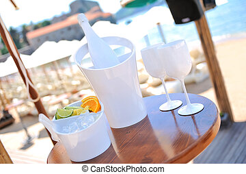 Cocktails on a table by the beach