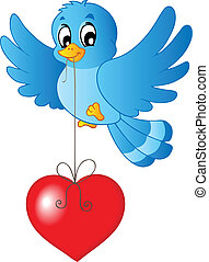 Blue bird with heart on string - vector illustration.
