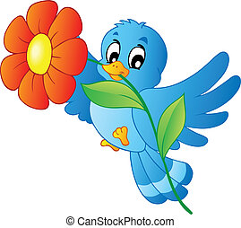 blå, fågel, bärande, blomma
