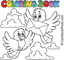 Coloring book birds with envelope - vector illustration.