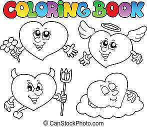 Coloring book hearts collection 2 - vector illustration.