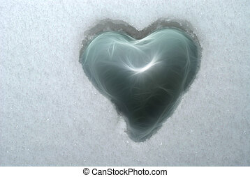 Heart in snow - Fragile glass heart embedded in ice cold...