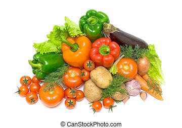 acima, legumes,  -, fundo, branca, vista