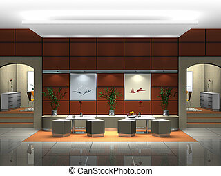 lobby interior - rendering showing the interior of a hotel...