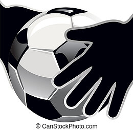 goalkeepers hands and soccer ball isolated on white...