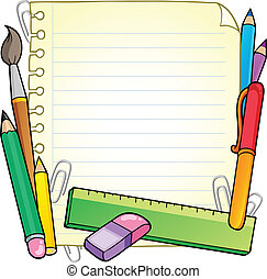 Notepad blank page and stationery 1 - vector illustration.