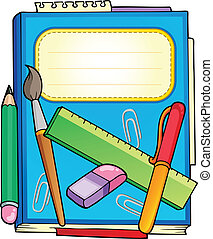 School notepad with stationery - vector illustration