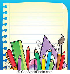 Notepad blank page and stationery 2 - vector illustration.