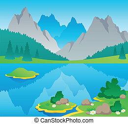 Mountain theme landscape 6 - vector illustration