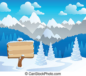 Mountain theme landscape 5 - vector illustration.