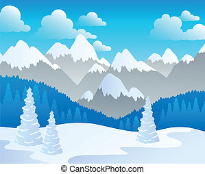 Mountain theme landscape 4 - vector illustration