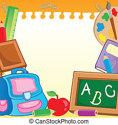 Frame with school supplies 2 - vector illustration