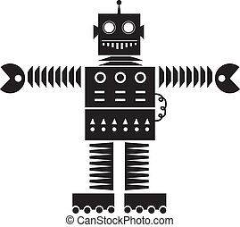 Robot Silhouette - Isolated robot silhouette outline with...