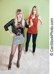 Embarrassed Mom - Embarrassed mother with daughter in...