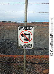 Safety sign at Super Pit lookout, Western Australia