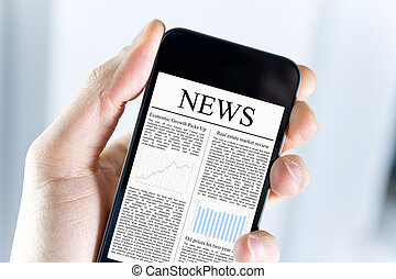 News On Mobile Phone - A man holding mobile smart phone with...