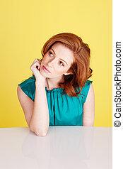 Beautiful Redhead Woman Thinking