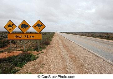 Road sign in Australia, Nullarbour Plain
