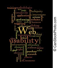 Web Usability word cloud isolated on black background - Word...