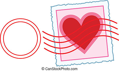 Love Letter Stamp - An image of a Valentine stamp, with a...