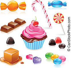 Mixed candy vector - Set of various candy elements including...