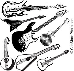 Guitar Collection - Clip art collection of various stringed...