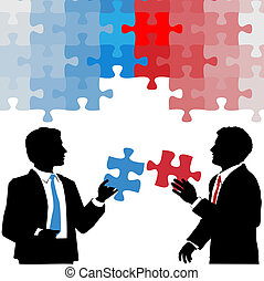 Business people hold collaboration puzzle solution - Two...